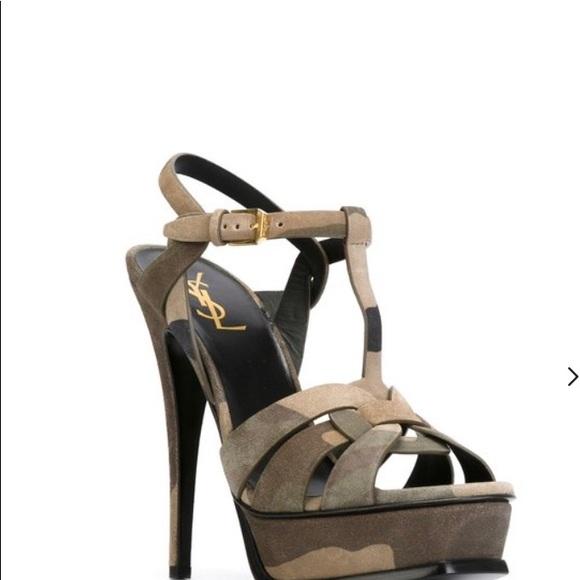 319768d238 Yves Saint Laurent Shoes | Ysl Tribute Camouflage Suede Sandals ...